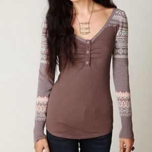 FREE PEOPLE Cabin Fever Fair Isle Top